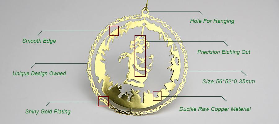 Round Angel Design Hanging Custom Metal Christmas Ornaments Wholesale-Greatnameplates.com