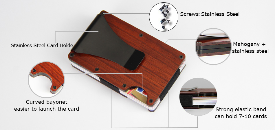 Mahogany Square Business Stainless Steel Rfid Aluminum Credit Card Holder-Greatnameplates.com