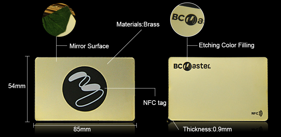 High-end Brass Mirror Contactless Metal NFC Card Supplier-Greatnameplates.com